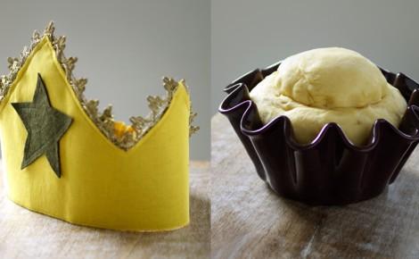 Une brioche des rois et une jolie couronne en tissu